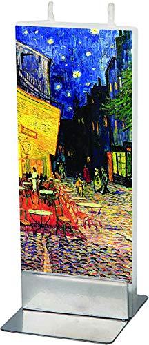 flatyz Flachkerze, Kerze mit 2 Dochten und Halterung, Motiv Vincent Van Gogh Straßencafe
