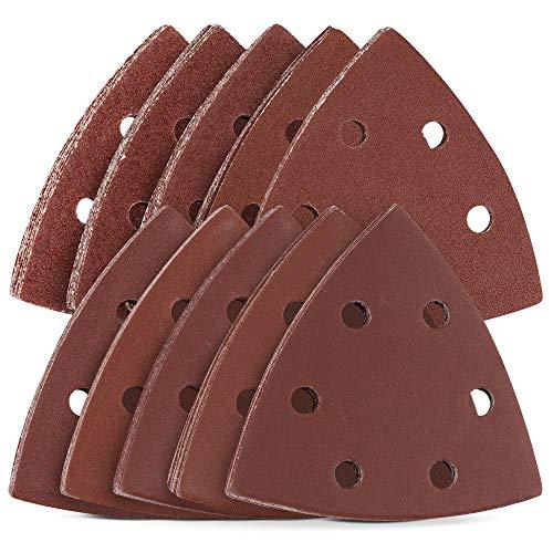 Navaris 100x Klett Delta Schleifpapier für Dreieckschleifer - 40-400 Körnung - 93 x 93 x 93mm - Dreieck Schleifblatt Set für Deltaschleifer