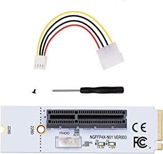 EXPLOMOS M.2 Key M NGFF to PCI-E 4X Adapter Card, 4 PIN Power Cable (2 Pack)