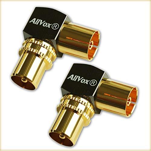 Max-X Winkeladapter Winkelstecker 90° IEC Vergoldet 90-Grad-Winkel Koaxstecker Adapter für Radio Kabelfernsehen Verlängerungen/Verbindungen über Eck (Stecker auf Buchse) DVB-T DVB-T2 HD 2 Stück