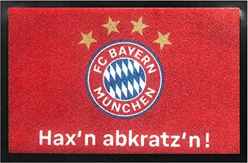 FC Bayern München Fußmatte Hax'n abkratz'n ! 60 cm x 40 cm Schmutzfangmatte mit Rutschfester PVC Unterlage Fußabtreter Fußball FCB Allianz Arena Fußabstreifer für Außen und Innen pflegeleicht