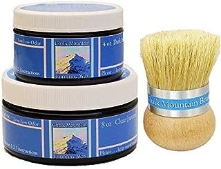 Chalk Mountain Brushes 3pack Natural Furniture Finishing Wax kit - (8oz Clear & 4oz CharcoalBlack, Palm Brush)
