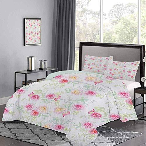 Colchas Colcha Rosas de Colores Suaves Vintage Estilo Antiguo Pintura Retro Primavera Jardín Estampado edredón No Siente picazón o aspereza Blanco Rosa Verde