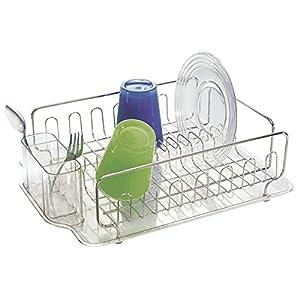mDesign Escurridor de platos en acero inoxidable - Escurreplatos plástico con cubertero - Elegante escurrecubiertos para vajilla con bandeja recolectora - Hasta 15 platos + cubiertos