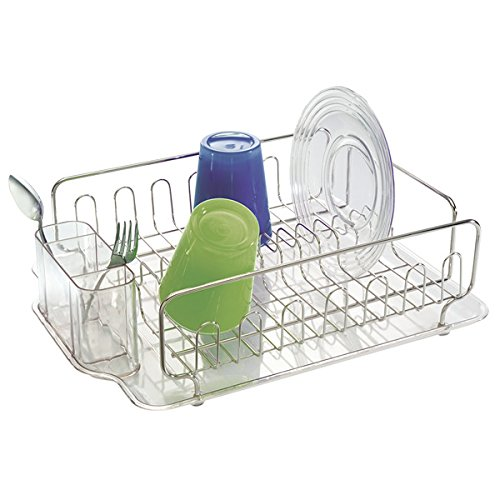 mDesign Dish Drainer – Dish Rack for Kitchen Sink – Plastic and Stainless Steel Dish Drainer with Drip Tray – for up to 15 Plates and Cutlery – Clear