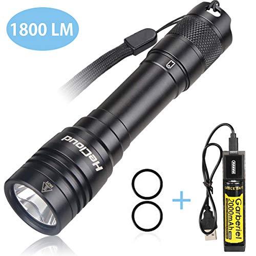 WSeasy LED Tauchen Taschenlampe Wiederaufladbar, 4 Modi 1800LM Professionelle Unterwasser Taschenlampe, IPX-8 70 Meter Wasserdichte LED Tauchlampe mit 18650 Akku und USB Ladegerät