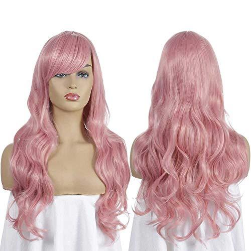 flower Mooie Lange Golvende Harajuku Stijl Cosplay Pruik (Lichtblauw/Licht Paars/Roze) Universele Anime Pruiken 70Cm Lang Krullend Haar Haar Sets Roze
