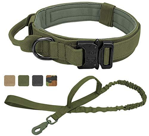 DHGTEP Collar Perro Táctico Militar Correa de Shepard Alemán Mediano Grande Collares Perro de Plomo para Formación a Pie Collar de Perro Control de la Manija (Color : Green, Size : XL)