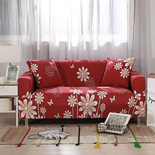 WLVG Fundas para sofá de 1 2 3 4 plazas, diseño de flores, color rojo
