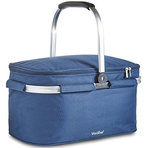 VonShef Kühltasche, faltbar, 30 l, isoliert, groß, Marineblau