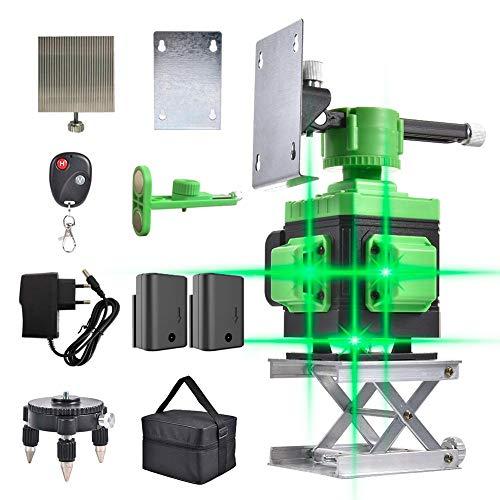 Nivel láser de línea cruzada, 3D 12 Line Green Beam Self-Leveling 3x360 Horizontal y...
