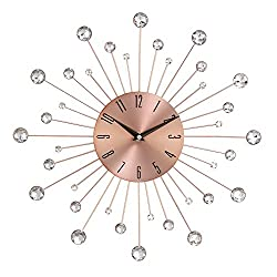 Deco 79 85517 Wall Clock with Clear Crystal Accents 15 Round Iron Burst Design, Diameter, Copper/Black