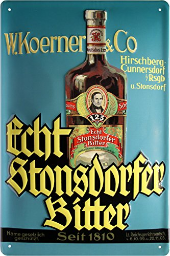 Echt Stonsdorfer Bitter geprägt Nostalgie Reklame Blechschild 20x30 Blech 690