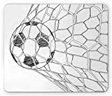 Ambesonne Soccer Mouse Pad, Soccer Ball in Net Goaly Position Sports Competition Spectators Hand Drawn Style, Rectangle Non-Slip Rubber Mousepad, Standard Size, White Black