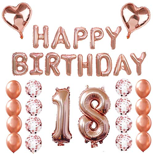 BESTOYARD 18. Alles Gute zum Geburtstag Ballons Banner Rose Gold Ballons Dekorationen Set Folie und Latex Buchstaben Ballons Mylar Ballons Geburtstag Party Dekoration