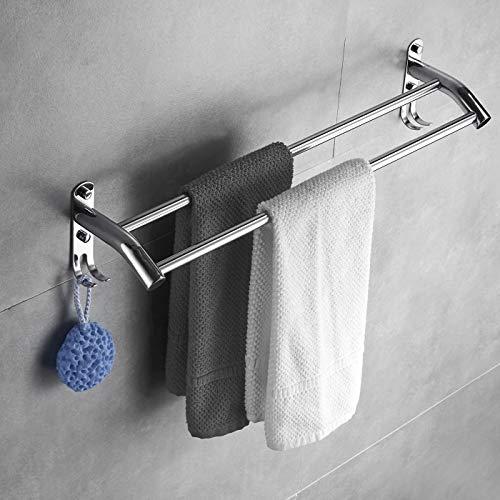 SDGDFGD Toallero Baño Pared INOX Toallero De Barra Toalleros De Baño Barra De Riel De Toalla De Baño Montada En La Pared Prueba De Herrumbre Soporte para Pared Acabado En Plata Mate (Size : 60cm)