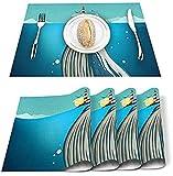 Set di 4 tovagliette cartone animato balena animale marino faro poliestere tovagliette resistenti alle macchie tovaglietta lavabile decorazione per casa, cucina, ufficio blu