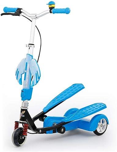 HYRL Le Scooter des Enfants, Scooter d'oscillation avec la Musique Couleurée a Ailes la poulie instantanée de Scooter de Tricycle 4-15 Ans de Jouets en Plein air,bleu