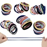 60 Pack Neutral Color Nylon Seamless Elastic Ponytail Holders No Crease Women Hair Ties