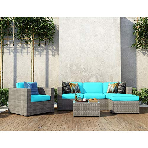 UKN 6 Piece Patio Conversation Set Garden Cushioned Sectional Sofa Outdoor Furniture Wicker Couch Blue Grey Modern Contemporary Handmade Weather Resistant