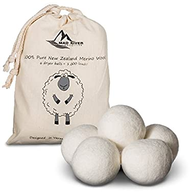 Wool Dryer Balls, Super-Premium Laundry Clothes Dryer Balls, New Zealand Merino Wool, 6-Pack, Natural Organic Fabric Softener | By Mad River Collective
