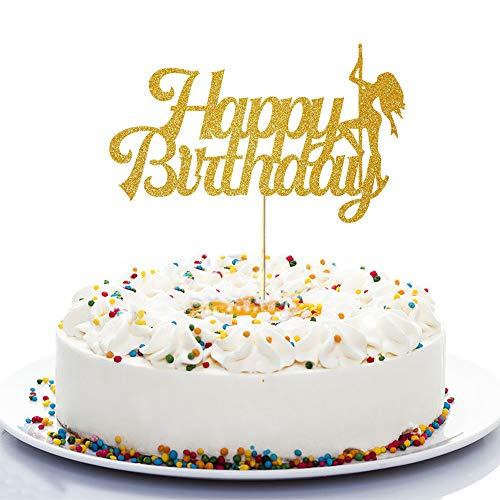 NN-BH Golden Flash Happy Birthday Cake Topper, Birthday Party Cake Decoration, Sports Theme Cake Topper (Pole Dance)