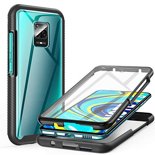 ivencase Funda para Xiaomi Redmi Note 9s/9 Pro/9 Pro MAX, 360 Grados Transparente Case Protectora con Protector de Pantalla Incorporado (Negro)