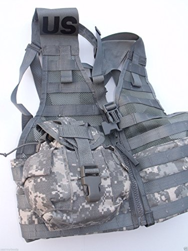 US Army Military ACU FIGHTING LOAD CARRIER Vest FLC LBV + CANTEENS + COVERS