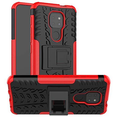 LFDZ Funda Motorola Moto G9 Play,con Soporte Cáscara de Doble Capa de Cubierta Heavy Duty Silicona Caso Funda para Motorola Moto G9 Play Smartphone(Not fit Moto G9 Plus),Rojo