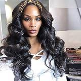 K'ryssma Headband Wig Synthetic Long Wavy Dark Brown Headband Wigs for Black Women Natural Looking High Density Glueless Synthetic Wig Heat Resistant(#2)
