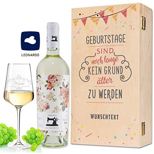 Leonardo Weinglas mit Gravur inkl. bedruckter Holzkiste + La Sastreria Weinflasche 0,75 l - Geburtstagsgeschenk für Frauen & Männer - Wein Geschenkset - Wein des Jahres 2018 Farbe Weiß