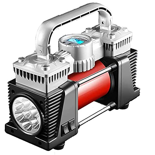 GAO-bo Bomba de aire de coche, bomba de llenado de neumáticos para neumáticos para neumáticos para automóvil con DIRIGIÓ Calibrador de presión de aire de aire de doble cilindro de doble presión de alt