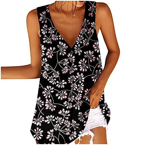 NAQUSHA Camisas sueltas con botones para mujer, blusa bohemia y floral, talla grande
