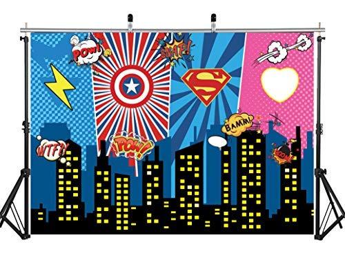 AIIKES 7x5FT Mighty Avengers Party Superheroes Birthday Photo Background Fondo de Avengers Superheroes Party Decoration Background Superheroes Party Superheroes City Night 11-394