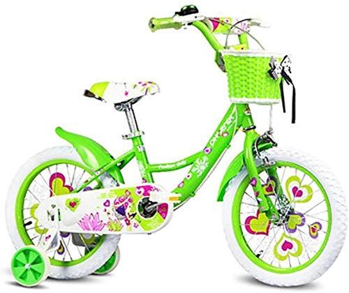 LSZ 12 14 Pulgadas de Acero de Alto Carbono con Ruedas de Entrenamiento Ruedas inflables de Goma Pedal for niños Bicicleta Ajustable Chica Chica Bicicleta para niños (Color : Green, Size : 14)