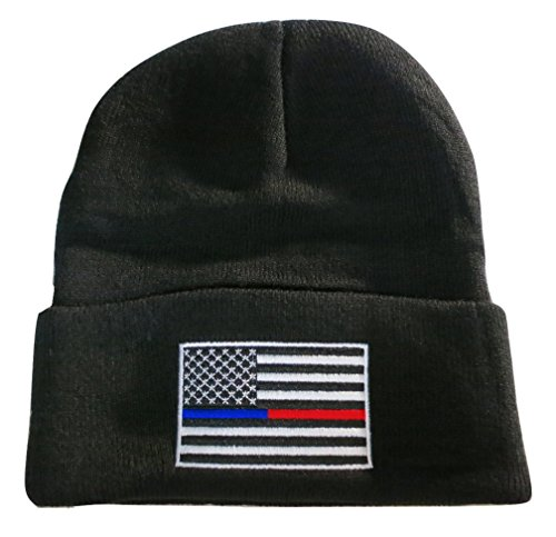 TrendyLuz Thin Blue Red Line USA Flag Knit Totenkopf Cap Beanie Support Police Firefighter