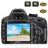 D3400 D3500 Protector pantalla de cristal para cámara Nikon D3500 D3400 D3300 D3200 D3100 DSLR y cubierta de zapata caliente,BTER 9H Dureza vidrio templado, antiarañazos anti huellas (2+3 unidades)