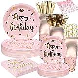 SPECOOL Stoviglie Rosa e Oro per Feste di Compleanno, Piatti Rosa per Buon Compleanno, Tazze e tovaglioli, tovaglie, cannucce, coltelli e forchette per Donne Feste di Compleanno per Ragazze