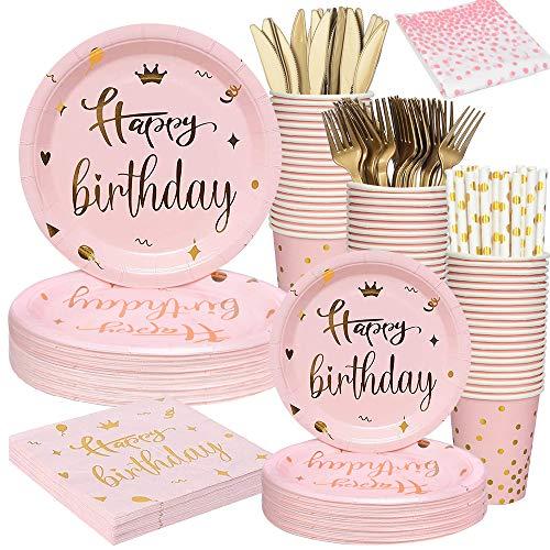 Vajilla, platos, tazas y servilletas de fiesta de cumpleaños de color rosa...