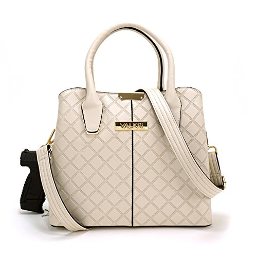 Valkri Juno Concealed Carry Crossbody Gun Purse - Locking Handbag with Reinforced Shoulder Strap (Cream)