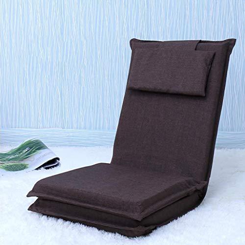 Dsrgwe Silla de Suelo Silla de Piso Plegable con reposacabezas extraíble Cojín de Asiento Grueso Lazy Lounge Sofa Gaming Meditation Chair