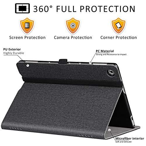 ZtotopCase Hülle für Huawei MediaPad M5 Lite 10, Premium Kunstleder Leichte Case mit Auto Schlaf/Wach Funktion und Pen Halter, für Huawei MediaPad M5 Lite 10.1 Zoll 2018 Modell, Denim Schwarz - 3