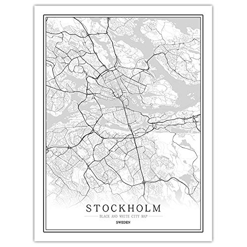 SKLHSIL Tryck duk, modern väggmålning konst Sverige Stockholm stadskarta enkel svartvit minimalistisk affisch bildmålning kontor vardagsrum hem sovrum rymd dekoration nordisk stil 50 x 70