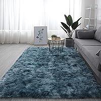マシン 洗える カーペット,シャギー ホームインテリア 床 絨毯,余分な柔らかい ファジーキッズベッドルーム Carpet ふわふわ カーペット フランネル リビングルーム ホーム デコレーション-水は緑に染まる 160x200cm(63x79inch)