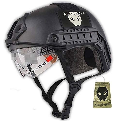 Worldshopping4U Casco de Estilo SWAT, Tipo MH rápido (L/XL), para Deportes, con protección para Ojos, Color Negro