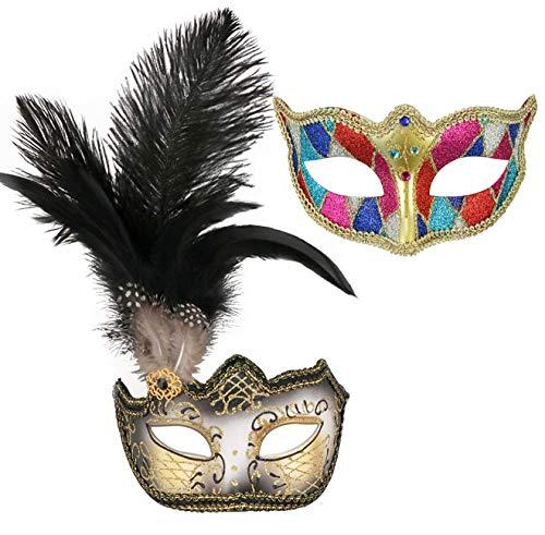 Juego de 2 mscaras venecianas de la bola de Mardi Gras para parejas, mscara de mascarada, accesorio para disfraz de fiesta (33)