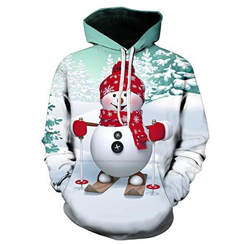 Cerlemi Herren Weihnachtlichen Kapuzenpullover Weihnachtspullover Pullover Hoodies Top Sweater Weihnachtspulli Sweatjacke Langarm Sweatshirt Mit Taschen 3D Druck Unisex Kapuzensweater Jacke