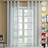 Topfinel Transparente Visillos da Panels Modernas Visillos para Ventanas Cortinas Dormitorio con Ojales,2 Piezas,140 x 175 cm,Gris