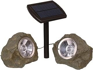 Alpan 10141B 2Pk Solar Smart Focus Spot Light Rock Spotlights, Gray