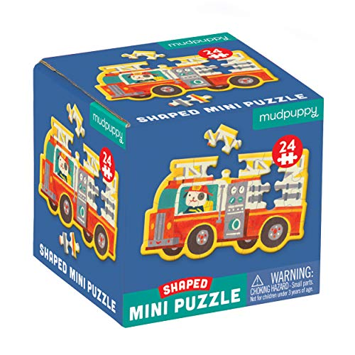 "Mudpuppy Fire Truck Shaped Mini Puzzle, 24 Pieces, 6"" x 6"" – Die-Cut Mini Jigsaw Puzzle in The Shape of a Fire Truck Driven by a Dog – Great Travel Activity for Kids, Makes a Great Gift Idea"